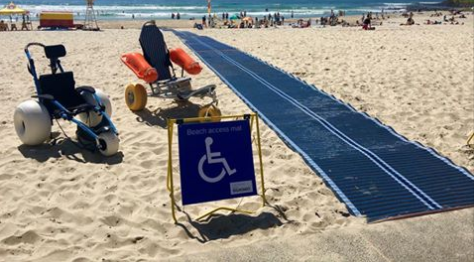 Beach wheelchairs at Burleigh Beach